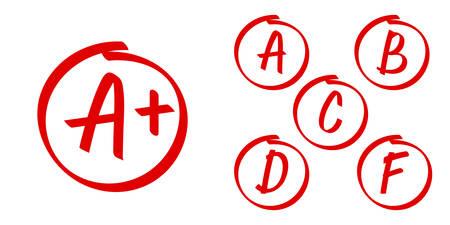 Icônes vectorielles de résultats scolaires. Lettres et notes plus dans le cercle rouge Vecteurs