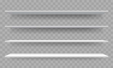 Shelves on wall perspective. Vector isolated 3D shelf racks mockup templates on transparent background Stok Fotoğraf - 121672234