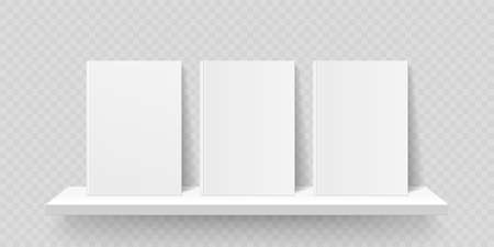Book shelf mockup. Vector bookshelf wall with blank book front covers, brochure gallery shop shelves template Illustration