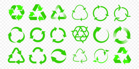 Recycle vector icons. Reuse eco arrow and bio garbage recycle green triangle signs set