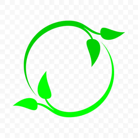 Recycle icon, green leaf arrow circle. Vector bio garbage reuse, ecology environment and nature protection and eco recycle sign