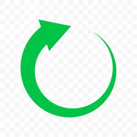 Recycle green arrow circle icon. Vector bio garbage reuse, eco recycle one arrow icon