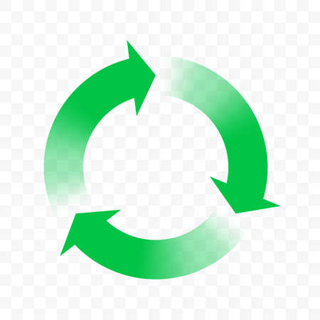 Recycle icon, vector arrows circle symbol. Eco waste reuse cycle, bio waste recycle green gradient arrows