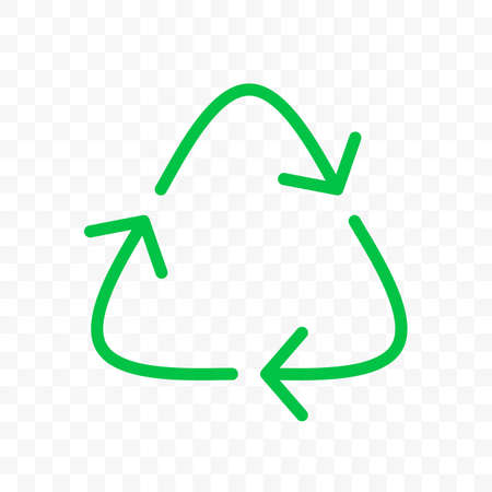 Recycle arrows circle icon. Vector eco waste bin sign, organic reuse and recycle bio package line arrow symbol Illustration