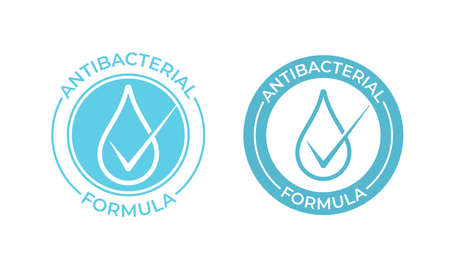 Antibacterial vector icon. Anti bacterial formula sign, hand soap and chemical products package seal