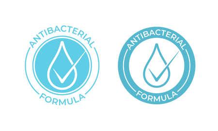 Icono de vector antibacteriano. Signo de fórmula antibacteriana, jabón de manos y sello de paquete de productos químicos