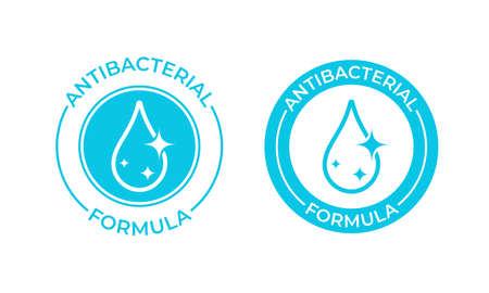 Icône de vecteur de formule antibactérienne. Étiquette de savon antibactérien ou de gel antiseptique, joint d'emballage de produit antibactérien nettoyant pour gel de bain de toilette