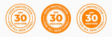 SPF 30 sun protection, UVA and UVB vector icons. SPF 30 high UV protection skin lotion and cream package label Ilustração