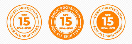SPF 15 sun protection UVA and UVB vector icons. SPF 15 basic UV protection skin lotion and cream package label