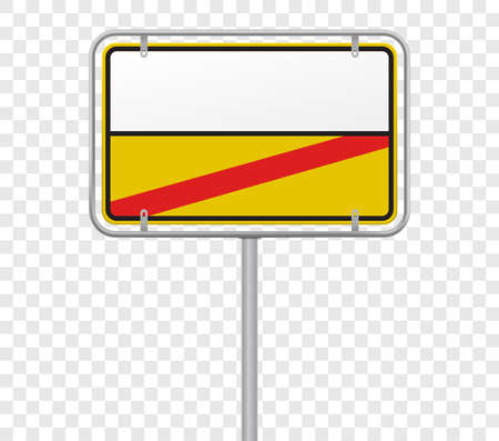 Town entry and exit, city limit road sign template. Vector German yellow and white city border entry and exit road sign template Illustration