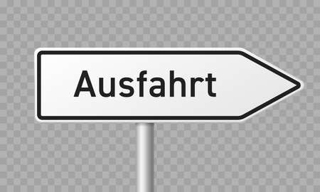 German road sign, Ausfahrt or Exit direction arrow vector road signpost template Illustration