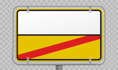 Road sign, city limit and town entry and exit blank yellow and white template. Vector Germany city border entry and exit road sign