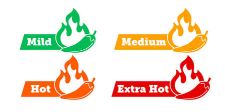 Spicy chili hot pepper level labels. Vector spicy food green mild, medium and red extra hot, jalapeno pepper fire flame, sauce package icons 向量圖像