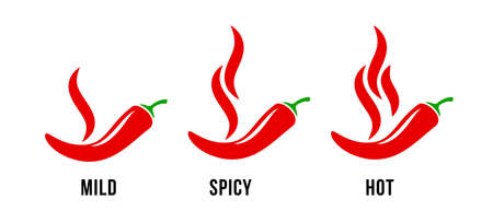 Spicy chili hot pepper, food spice level, vector red pepper fire flame icons