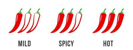 Pikantne etykiety poziomu papryczki chili. Wektor pikantne jedzenie łagodny i bardzo ostry sos, ikony czerwonej papryki chili