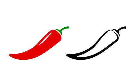 Spicy chili hot pepper icons. Vector Asian and Mexican spicy food and sauce, red and black outline chili peppers