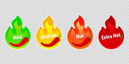 Etichette piccanti della fiamma del fuoco caldo del peperoncino Icone vettoriali di livello di cibo piccante, fiamma di fuoco al peperoncino verde delicato, medio e rosso extra caldo e tabasco