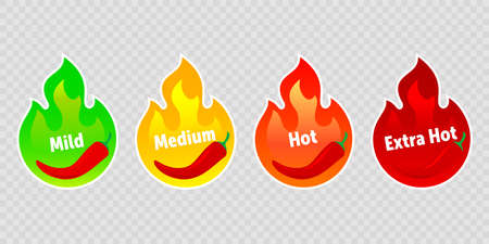 Spicy chili pepper hot fire flame labels. Vector spicy food level icons, green mild, medium and red extra hot jalapeno and tabasco pepper fire flame