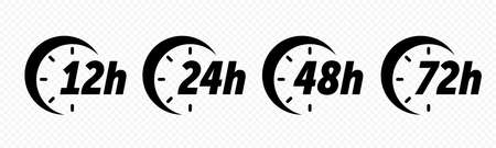 12, 24, 48 and 72 hours clock arrow vector icons. Delivery service, online deal remaining time web site symbols