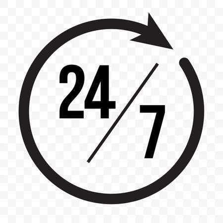 24 7 clock arrow icon, customer support, delivery and open symbol. Vector 24 7 round clock open supermarket or shop sign