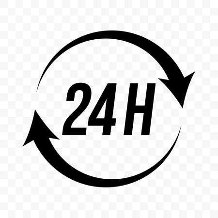 Icône de vecteur de flèche d'horloge ronde de 24 heures. Support client, livraison et magasin ouvert, enseigne 24H