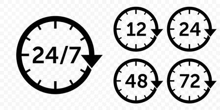 24 7 vector arrow, customer support, delivery and open icons. Vector 12, 24, 48 and 72 hours delivery service, clock arrows