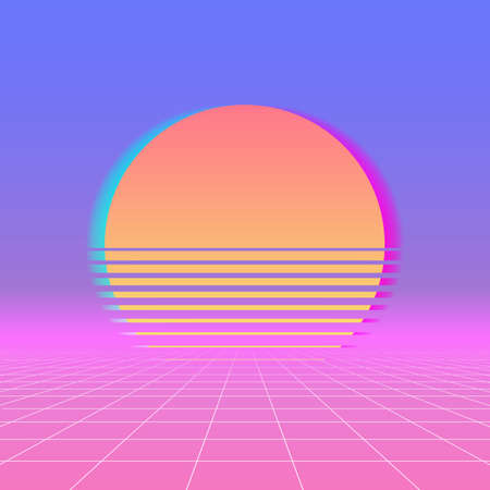 Sun neon retro 80s background. Vector neon sunset, futuristic sun space