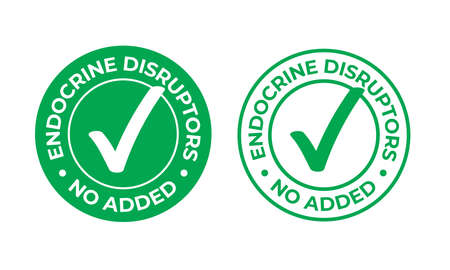 Endocrine disruptors no added vector green check mark icon. Natural food package stamp, healthy no EDC or endocrine disruptors chemicals safe seal stamp Illustration
