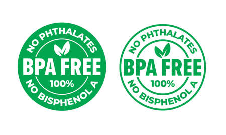 BPA free vector certificate icon. No phthalates and no bisphenol, safe food package stamp, check mark and green leaf