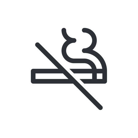 No smoking vector icon. Cigarette smoke forbidden kein rauchen or rauchverbot, no fumar, ne pas fumer and no smoking warning sign template