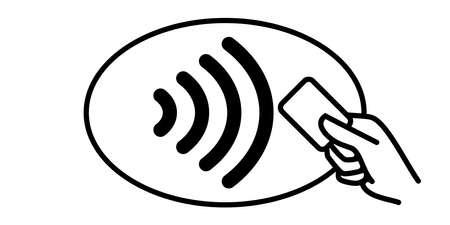 Icono de vector de pago sin contacto. Tarjeta de crédito y mano, onda de pago inalámbrica NFC y pase de pago sin contacto