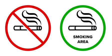 Smoking area and no smoking vector icons. Cigarette smokers zone, smoking permitted and forbidden sign