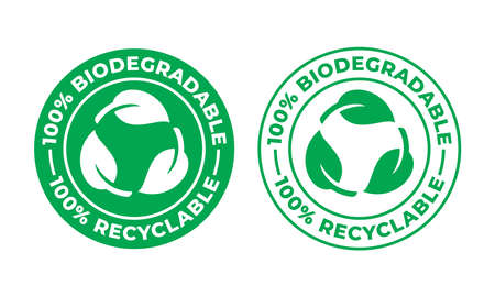 Biodegradable recyclable vector icon. 100 percent bio recyclable and degradable package packet