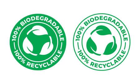 Icona di vettore riciclabile biodegradabile. Pacchetto 100% bio riciclabile e degradabile Vettoriali