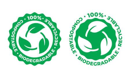 Icône de vecteur recyclable biodégradable et compostable. Feuille verte d'emballage 100 pour cent bio recyclable Vecteurs
