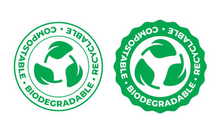 Biodegradable, compostable and recyclable vector icon. Bio recyclable eco friendly package green leaf stamp