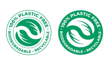 Biodegradable, plastic free recyclable vector icon. 100 percent bio recyclable package green stamp Illusztráció