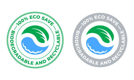Biodegradable and recyclable vector icon. Eco save bio recyclable and degradable package, green leaf and water drop stamp Ilustração