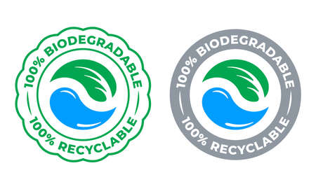 Biodegradable recyclable 100 percent label vector icon. Eco save bio recyclable and degradable packaging green stamp