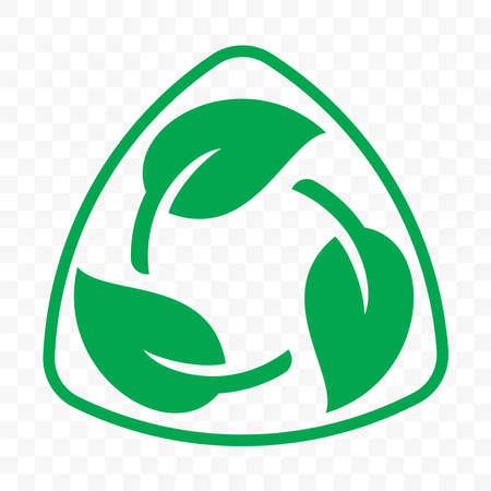 Biodegradable recyclable plastic free package icon template. Vector bio recyclable degradable label Ilustração