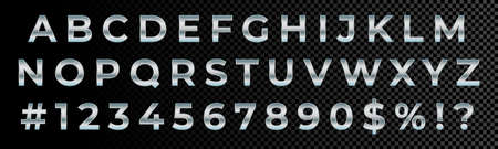 Silver font numbers and letters alphabet typography. Vector silver metallic font type, 3d metal chrome glossy effect