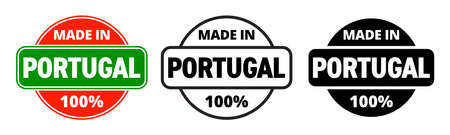Made in Portugal vector icon. Portuguese made quality product label, 100 percent package stamp