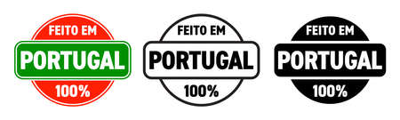 Made in Portugal vector icon. Feito em Portugal, Portuguese made quality product label, 100 percent package stamp