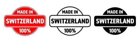 Made in Switzerland vector icon. Swiss made quality product label, 100 percent package stamp