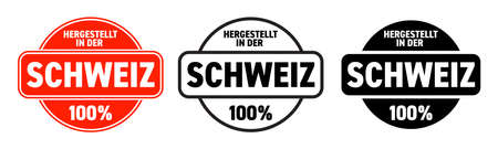 Made in Switzerland vector icon. Hergestellt in der Schweiz, Swiss made quality product label, 100 percent package stamp