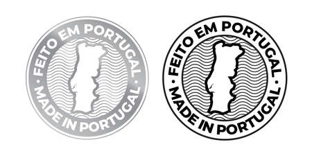 Made in Portugal, Feito em Portugal vector map icon. Portuguese made quality product label, 100 percent package stamp Ilustração