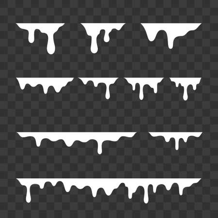 White melt drips, milk or liquid paint drops. Vector graffiti drip splatter splash or yogurt syrup leak drop borders Ilustração