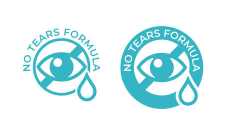 No tears formula vector icon. Kids soap free shampoo and baby skincare no tears stamp, eye and drop sign