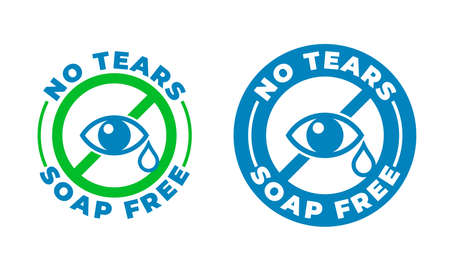 No tears formula, soap free shampoo vector icon. Kids and baby skincare no tears stamp, eye and drop sign