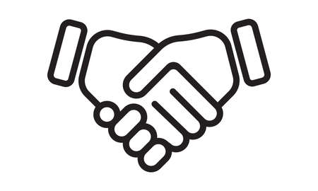 Hand shake vector line icon. Business handshake, partnership agreement and friendship deal sign